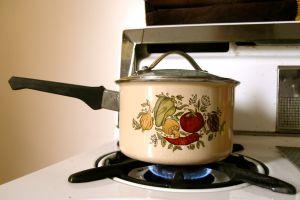The salvaged saucepan, simmering.