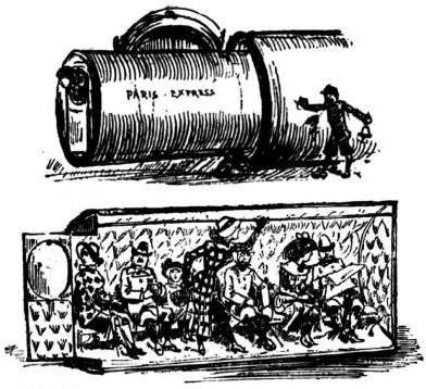 """""""Albert Robida - The Twentieth Century - Pneumatic Tube Train"""" by Albert Robida - Albert Robida's The Twentieth Century (1882). Licensed under Public Domain via Commons"""
