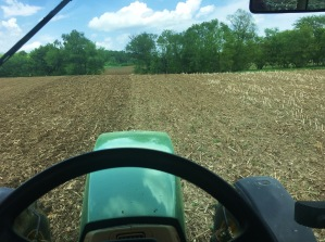 "A view while doing fieldwork. From the ""big"" tractor, the 8200"