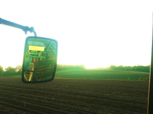 m the 6410 tractor with planter, sunset and fields